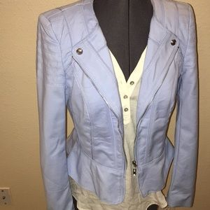 WHBM 2 Blue Zip Jacket STUNNING Classy Stretch